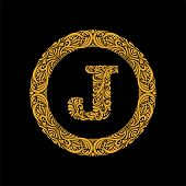 Premium, Elegant Capital Letter J In A Round Frame Is Made Of Floral Ornament. Baroque Style.elegant poster
