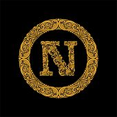 Premium, Elegant Capital Letter N In A Round Frame Is Made Of Floral Ornament. Baroque Style.elegant poster