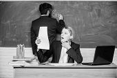Check Homework. Write Down Your Task. Teachers Working In Pairs School Classroom. School Educator An poster