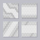 Set Of Four Creative Covers. Abstract Geometric Seamless Patterns. Rounded Triangles Covers. Trendy  poster