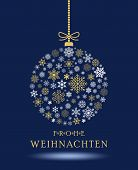 Christmas Bauble Vector. Snowflakes, Hanger And German Christmas Greetings. Blue Background. Transla poster