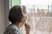Sad Lonely Old Woman Look Next To  Window Allone Depressed Abandoned Sick Ill poster