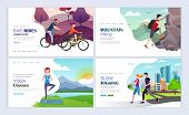 Cycling, Hiking, Yoga, Jogging. Healthy Lifestyle Concept. Landing Pages Template Set. Modern Flat D poster