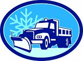 image of plow  - Illustration of a snow plow truck plowing with winter snow flakes in background set inside circle done in retro style - JPG