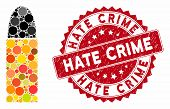 Mosaic Ammo Bullet And Distressed Stamp Seal With Hate Crime Text. Mosaic Vector Is Composed From Am poster