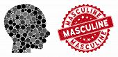 Mosaic Boy Profile And Corroded Stamp Seal With Masculine Text. Mosaic Vector Is Designed With Boy P poster