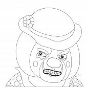 Clown angry, outline