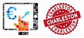 Collage Euro Analytics Tablet And Grunge Stamp Seal With Charleston Phrase. Mosaic Vector Is Created poster