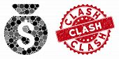 Mosaic Financial Capital And Rubber Stamp Seal With Clash Text. Mosaic Vector Is Composed With Finan poster
