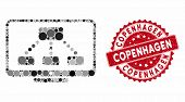 Mosaic Hierarchy Monitor And Rubber Stamp Watermark With Copenhagen Text. Mosaic Vector Is Composed  poster
