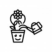 Black Line Icon For  Indoor-gardening Brooklyn Flowerpot Gardening Herb Houseplant Indoor poster
