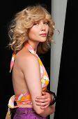 image of halter-top  - Pretty slim blonde in vintage halter and shorts - JPG