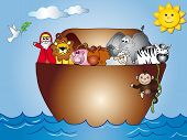 picture of noah  - illustration of noah ark whit a dove - JPG
