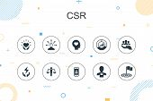 Csr Trendy Infographic Template. Thin Line Design With Responsibility, Sustainability, Ethics, Goal  poster