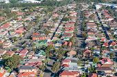 Aerial View Of Urban Suburb Residential Area With Houses And Street. Drone View From Above, Aerial P poster