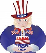 Uncle Sam With 4Th Of July Birthday Cake Illustration