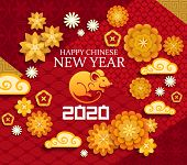 Happy Chinese New Year, 2020 Rat Mouse Lunar Zodiac Sign And Papercut Ornaments On Red Background. C poster