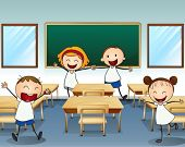 Illustration of kids in the classroom