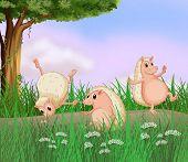 Illustration of the three molehogs playing