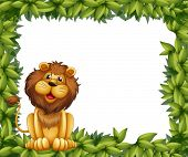 Illustration of an empty leafy frame with a lion