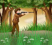 Illustration of a hunter inside the jungle