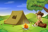 Illustration of a boy with a tent and a camp fire