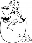 stock photo of dinosaur-eggs  - Black and white illustration of a baby dinosaur hatching - JPG