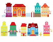 Set Of Cartoons Fairy Tale Drawing Houses Isolated On White Background. Series Separate Lodge.