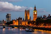 stock photo of palace  - Big Ben and Westminster Bridge in the Evening London United Kingdom - JPG