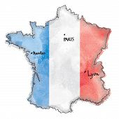 France map on flag watercolor painted.