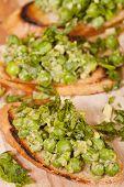Tasty Bruschetta With Green Vegetables