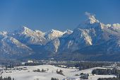 stock photo of bavarian alps  - panorama view to the alps mountains in bavaria  - JPG