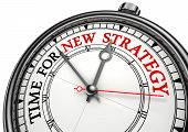 stock photo of strategy  - time for new strategy concept clock on white background with red and black words - JPG