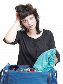 Woman Crammed Full Of Clothes And Shoulder Bag Isolated