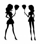 Clip Art Illustration Of A Sexy House Maid In Silhouette Holding A Feather Duster.