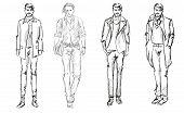 Sketch. Handsome stylish man
