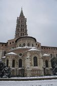 Basilica Of St Sernin In The Snow.