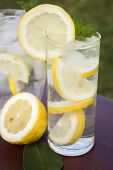 Limão na água de Soda em vidro