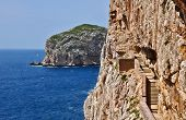 foto of grotto  - Stairways to stalactite cave of Neptune Grotto in Alghero in Sardinia - JPG