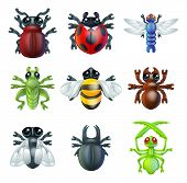 image of hoppers  - A series set of colourful insect bug icons including ladybird mantis dragonfly bee ant grasshopper fly and other beetles - JPG