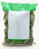 foto of oz  - 10 oz bag of raw spinach with blank label for text - JPG