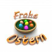O ovo de Páscoa dentro do cesto. Feliz Páscoa