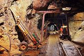 picture of underpass  - Underground train in mine carts in gold silver and copper mine - JPG