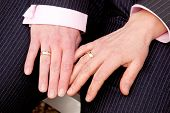 two female hands with wedding rings