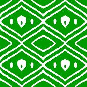 Ikat middle east traditional silk fabric seamless pattern in green, vector