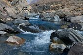 Clear Water In The Rugged Mountain River