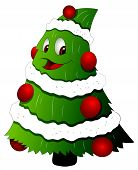 Cartoon Christmas Tree Character - Vector Illustration