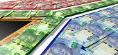 pic of nelson mandela  - A collection of south african rand noted laid ontop of and matching the colors of the south african national flag - JPG