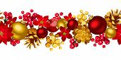 Christmas horizontal seamless background with balls, holly, cones and poinsettia.