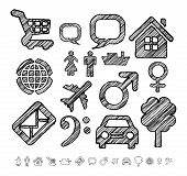 Group of icons for infographic in doodle style